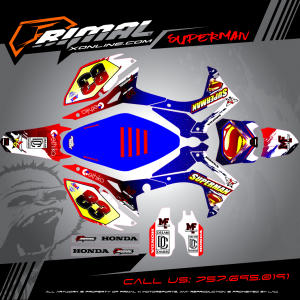 CRF450 MX GRAPHICS PRIMAL X MOTORSPORTS BIKELIFE MX DECALS MOTOCROSS SUPERMAN GRAPHICS