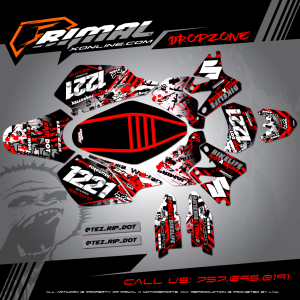 SUZKI DRZ 400SM MX GRAPHICS PRIMAL X MOTORSPORTS BIKELIFE MX DECALS MOTOCROSS CUSTOM SUPERMOTO GRAPHICS DROPZONE