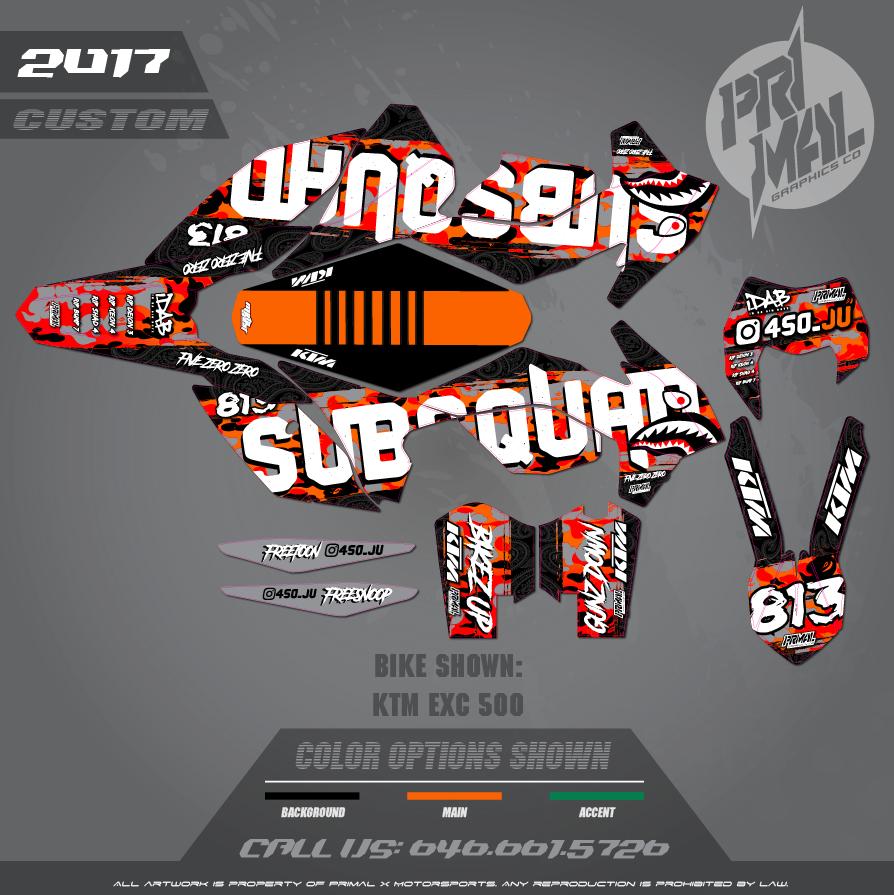2016 KTM EXC 500  CUSTOM MOTOCROSS GRAPHICS ATV MX GRAPHICS PRIMAL X MOTORSPORTS
