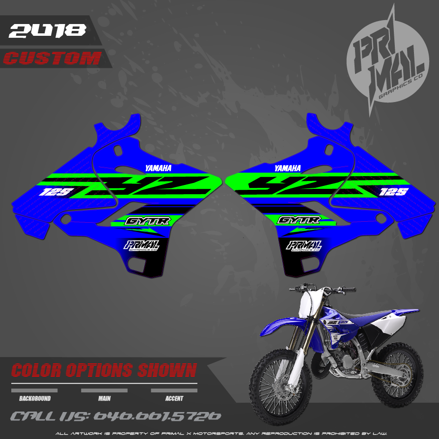 2019 YAMAHA YZ125 MOTOCROSS GRAPHICS ATV MX GRAPHICS PRIMAL X MOTORSPORTS BIKELIFE GREEN