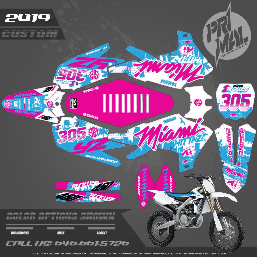 2019 YAMAHA YZ250 YZ250F YZ450F CUSTOM MOTOCROSS GRAPHICS ATV MX GRAPHICS PRIMAL X MOTORSPORTS Franke_2reckless MLK2019 bikelife