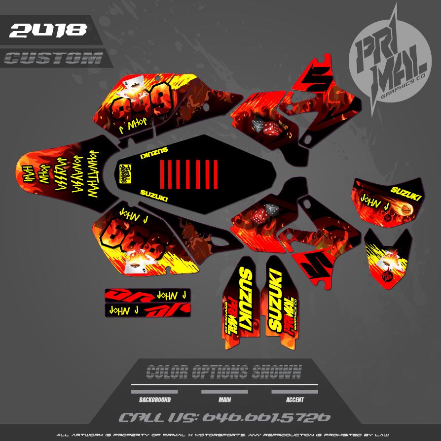 DRZ400SM CUSTOM MOTOCROSS GRAPHICS ATV MX GRAPHICS PRIMAL X MOTORSPORTS CUSTOM DEVIL