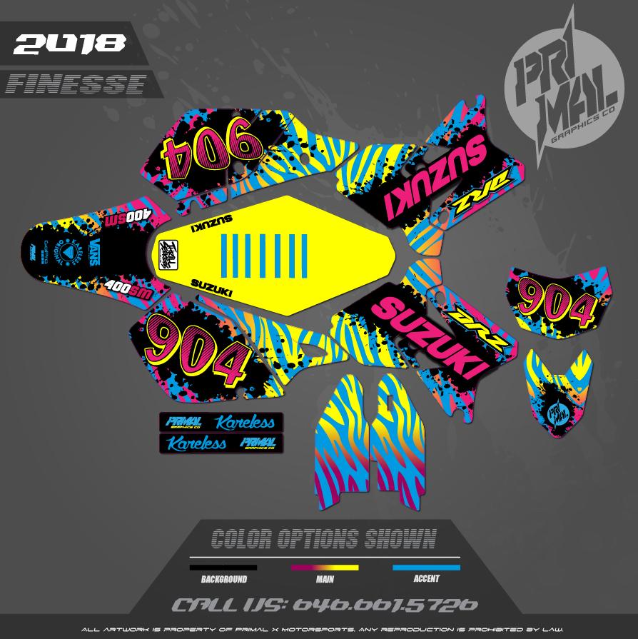 DRZ400SM CUSTOM MOTOCROSS GRAPHICS ATV MX GRAPHICS PRIMAL X MOTORSPORTS CUSTOM FINESSE