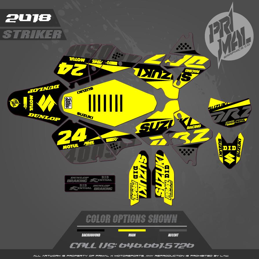 DRZ400SM CUSTOM MOTOCROSS GRAPHICS ATV MX GRAPHICS PRIMAL X MOTORSPORTS CUSTOM STRIKER NICKY