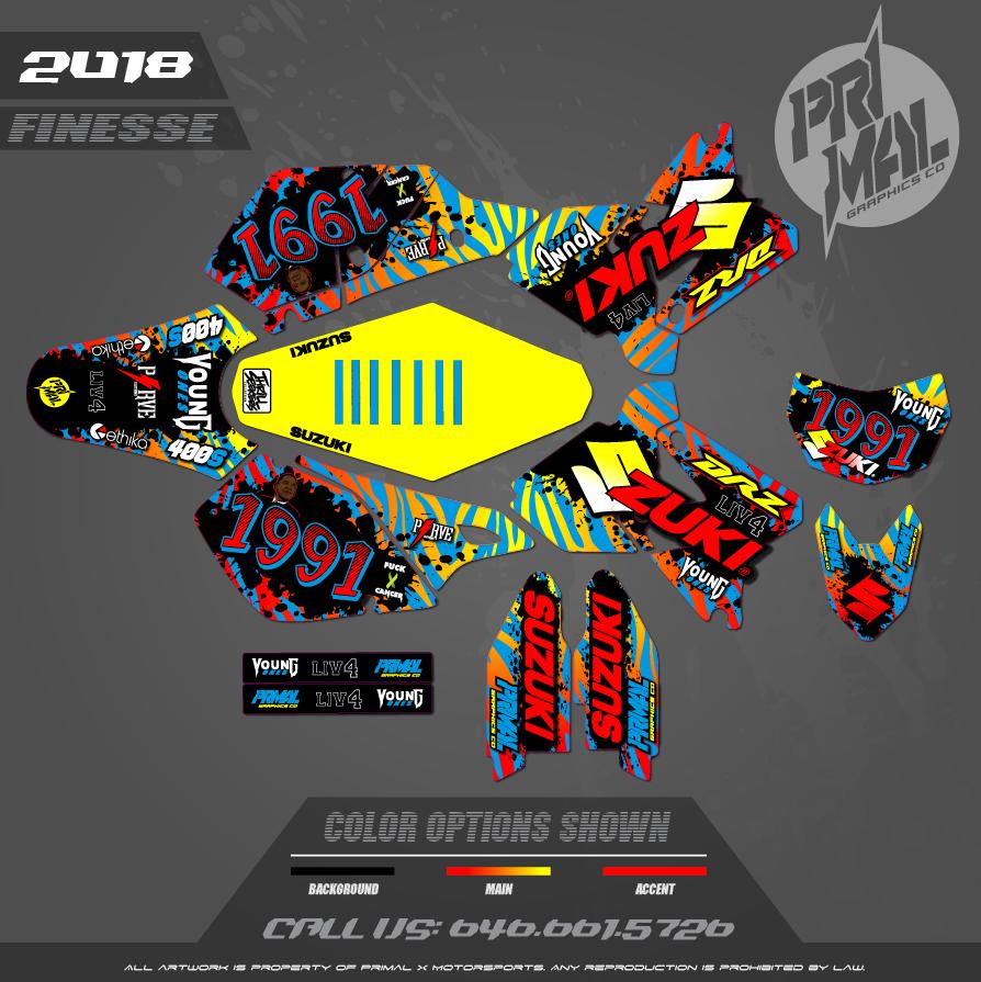 DRZ400SM CUSTOM MOTOCROSS GRAPHICS ATV MX GRAPHICS PRIMAL X MOTORSPORTS RETRO SUPERMOTO