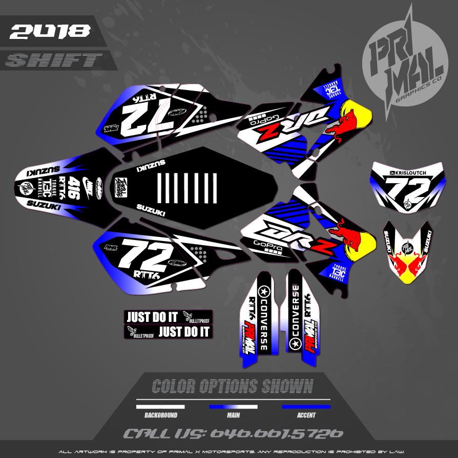 DRZ400SM CUSTOM MOTOCROSS GRAPHICS ATV MX GRAPHICS PRIMAL X MOTORSPORTS SHIFT SERIES BIKELIFE CA 2