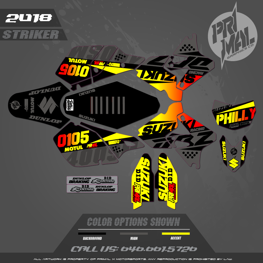 DRZ400SM CUSTOM MOTOCROSS GRAPHICS ATV MX GRAPHICS PRIMAL X MOTORSPORTS STRIKER SERIES NORTH PHILLY