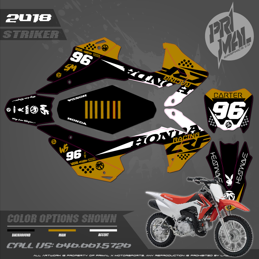 HONDA CRF110 PRIMAL X MOTORSPORTS CUSTOM MOTOCROSS GRAPHICS MX GRAPHICS STRIKER