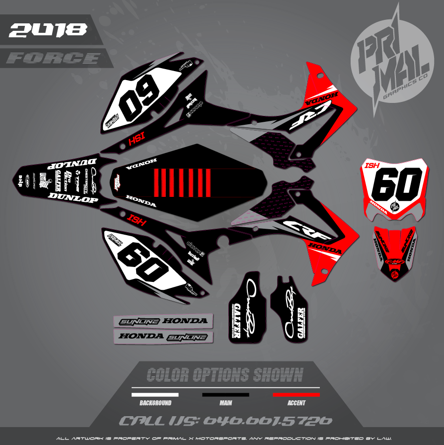 HONDA CRF250 CRF450 FORCE MOTOCROSS GRAPHICS ATV MX GRAPHICS PRIMAL X MOTORSPORTS HONDA MOTORCROSSL