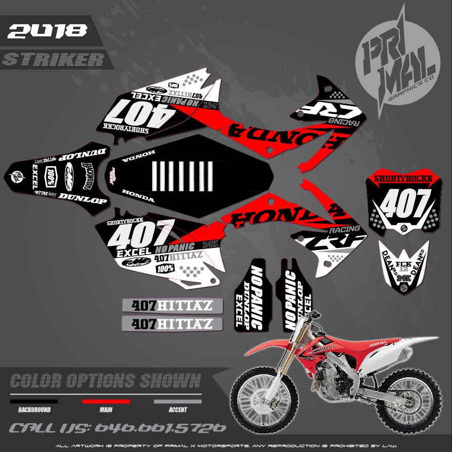 HONDA CRF250R CUSTOM MOTOCROSS GRAPHICS ATV MX GRAPHICS PRIMAL X MOTORSPORTS STRIKER 2