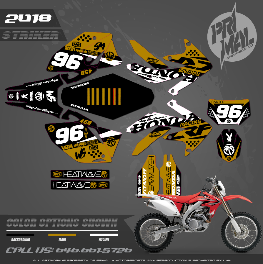HONDA CRF450X PRIMAL X MOTORSPORTS CUSTOM MOTOCROSS GRAPHICS MX GRAPHICS STRIKER