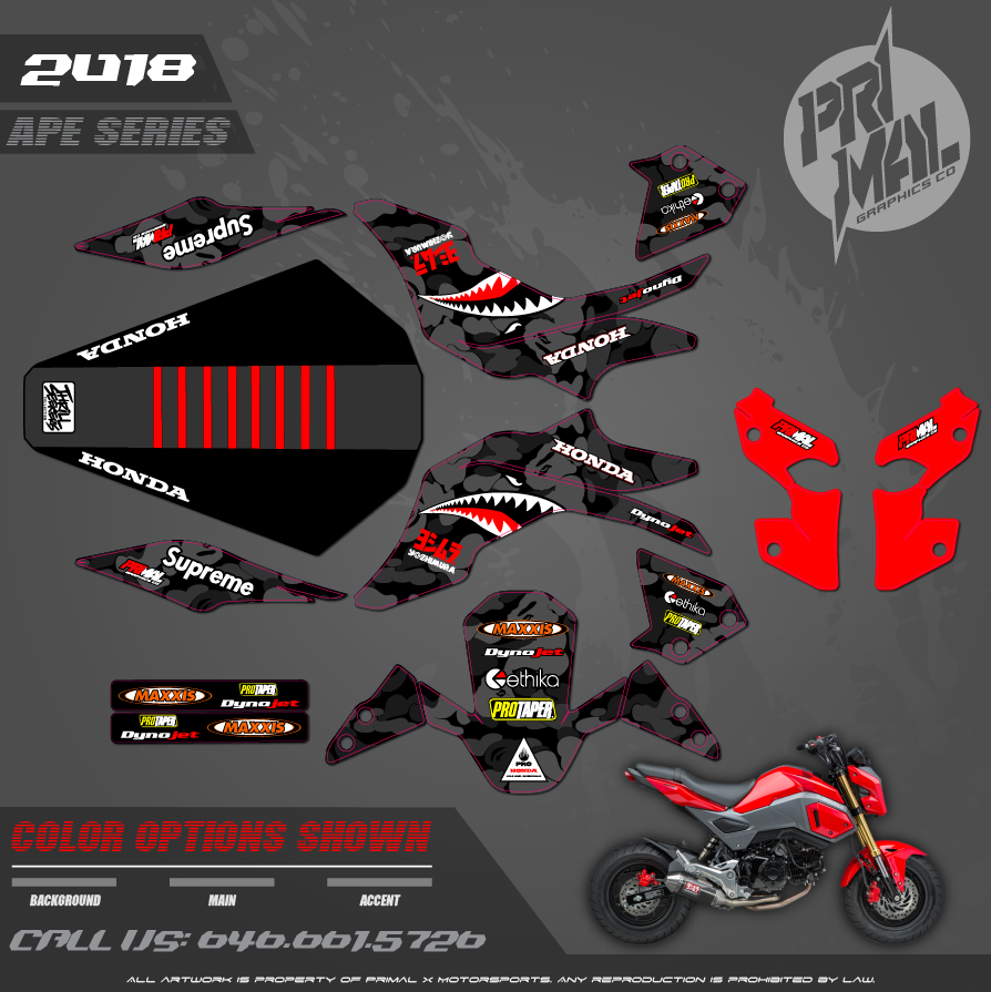 HONDA GROM CAMO MOTOCROSS GRAPHICS ATV MX GRAPHICS PRIMAL X MOTORSPORTS CUSTOM RETRO BIKELIFE