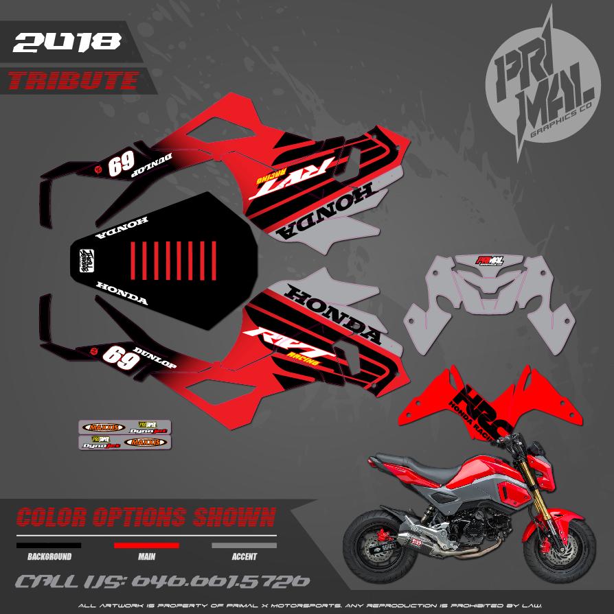 HONDA GROM NICKY HAYDEN  CUSTOM MOTOCROSS GRAPHICS ATV MX GRAPHICS GROM GRAPHICS PRIMAL X MOTORSPORTS CUSTOM BIKELIFE