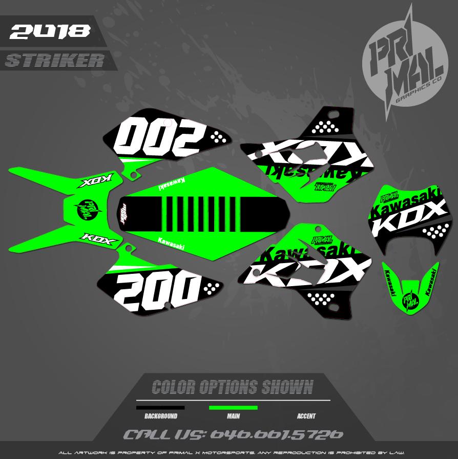 KAWASAKI KDX200 KDX220  GRAPHICS MOTOCROSS GRAPHICS ATV MX GRAPHICS PRIMAL X MOTORSPORTS CUSTOM SERIES