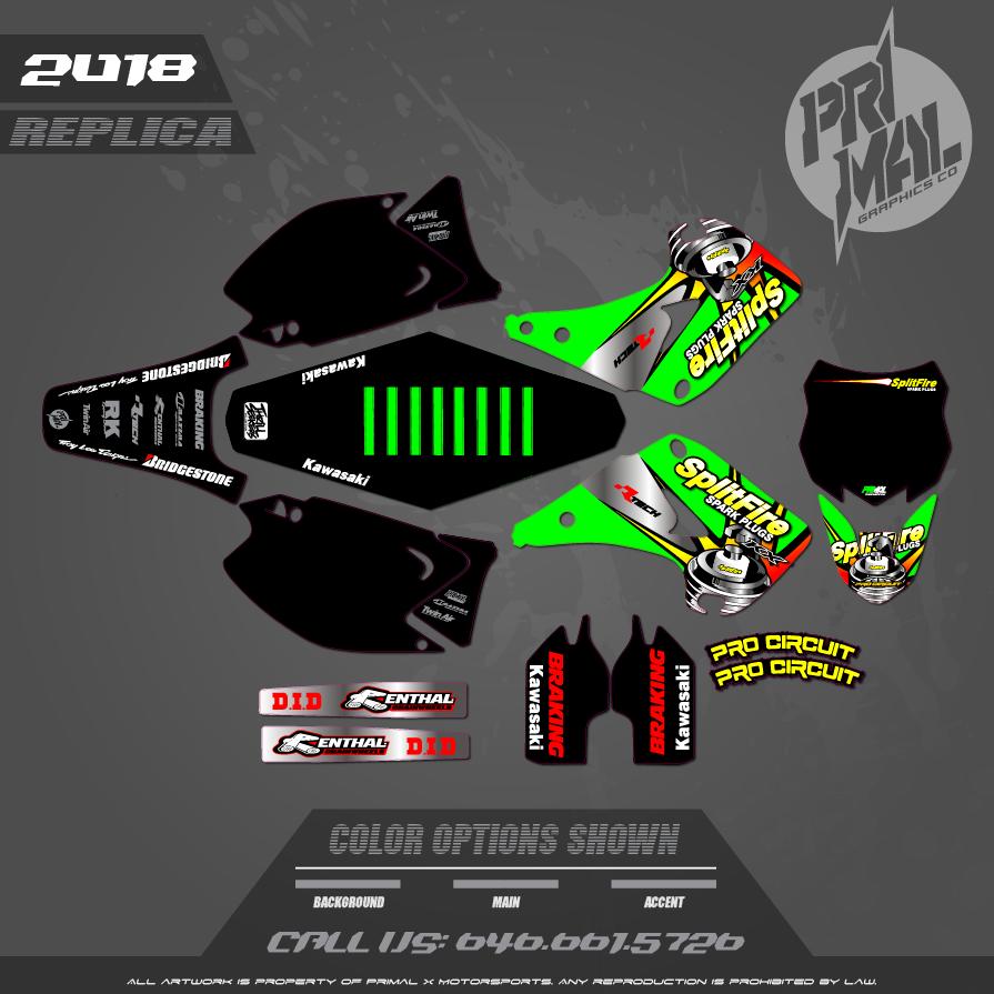 KAWASAKI KX250 GRAPHICS MOTOCROSS GRAPHICS ATV MX GRAPHICS PRIMAL X MOTORSPORTS MOTOCROSS SPLITFIRE