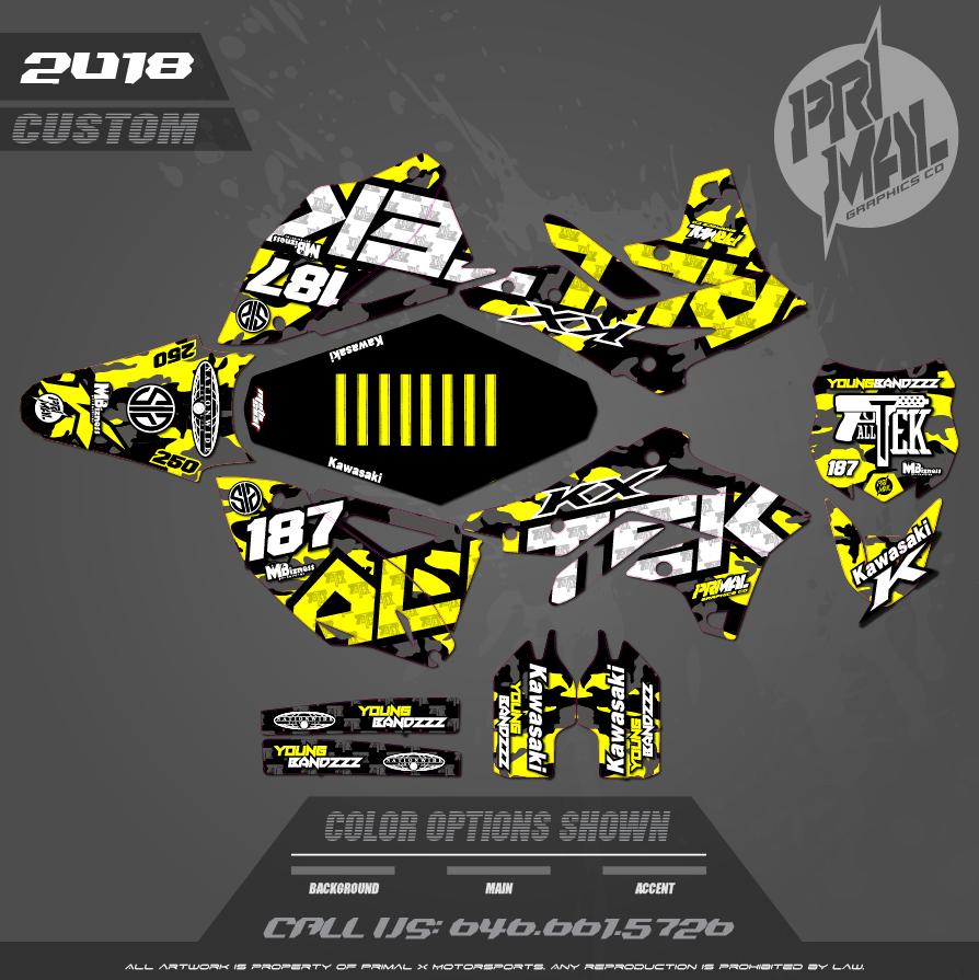 KAWASAKI KX250 KX450F  CUSTOM MOTOCROSS GRAPHICS ATV MX GRAPHICS PRIMAL X MOTORSPORTS CUSTOM CAMO MILITARY ALL TEK