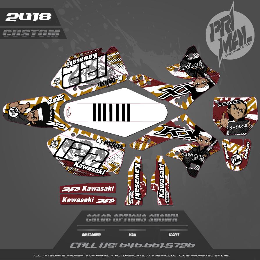 KAWASAKI KX250F BOONDOCKS CUSTOM MOTOCROSS GRAPHICS ATV MX GRAPHICS PRIMAL X MOTORSPORTS CUSTOM RETRO BIKELIFE