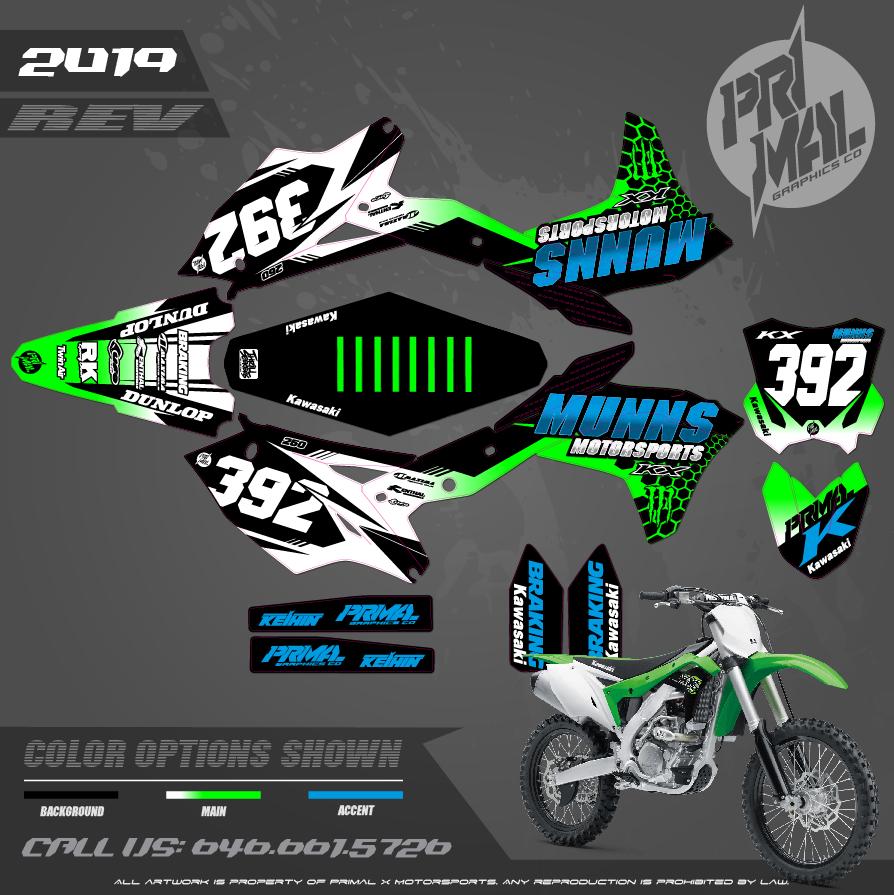 KAWASAKI KX250F  CUSTOM MOTOCROSS GRAPHICS ATV MX GRAPHICS PRIMAL X MOTORSPORTS REV