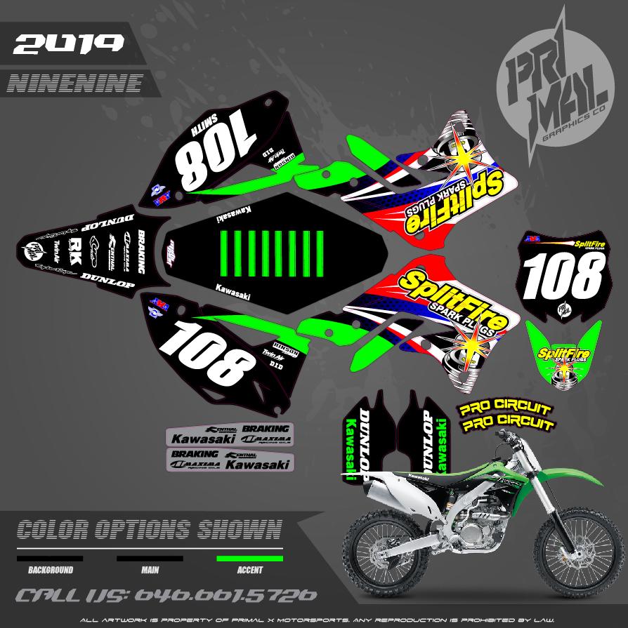 KAWASAKI KX450F SPLITFIRE KAWASAKI MOTOCROSS GRAPHICS ATV MX GRAPHICS PRIMAL X MOTORSPORTS PRIMAL GFX BIKELIFE