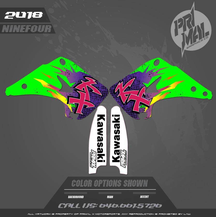 KX250 SHROUDS  CUSTOM MOTOCROSS GRAPHICS ATV MX GRAPHICS PRIMAL X MOTORSPORTS RETRO KAWASAKI