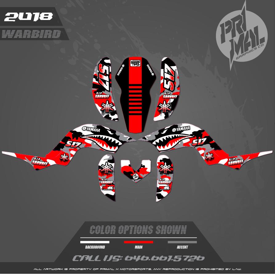 RAPTOR 660 CUSTOM MOTOCROSS GRAPHICS ATV MX GRAPHICS PRIMAL X MOTORSPORTS SERIES WARBIRD