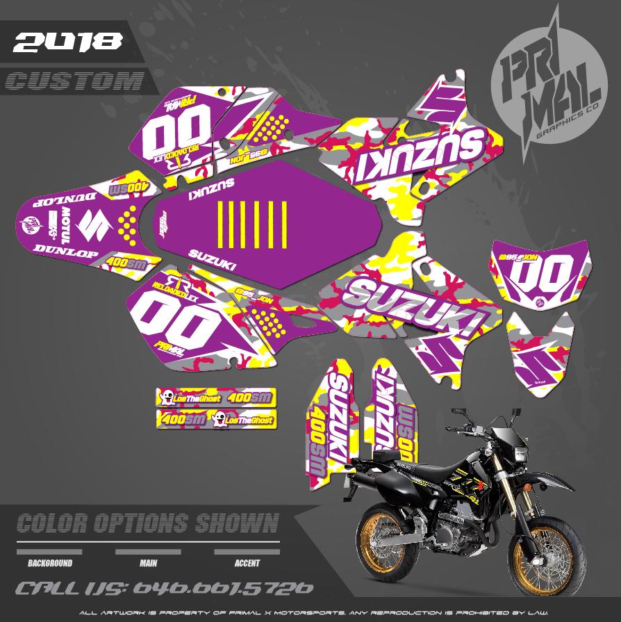 SUZUKIDRZ400SM CUSTOM MOTOCROSS GRAPHICS ATV MX GRAPHICS PRIMAL X MOTORSPORTS PRIMAL GFX CO BIKELIFE