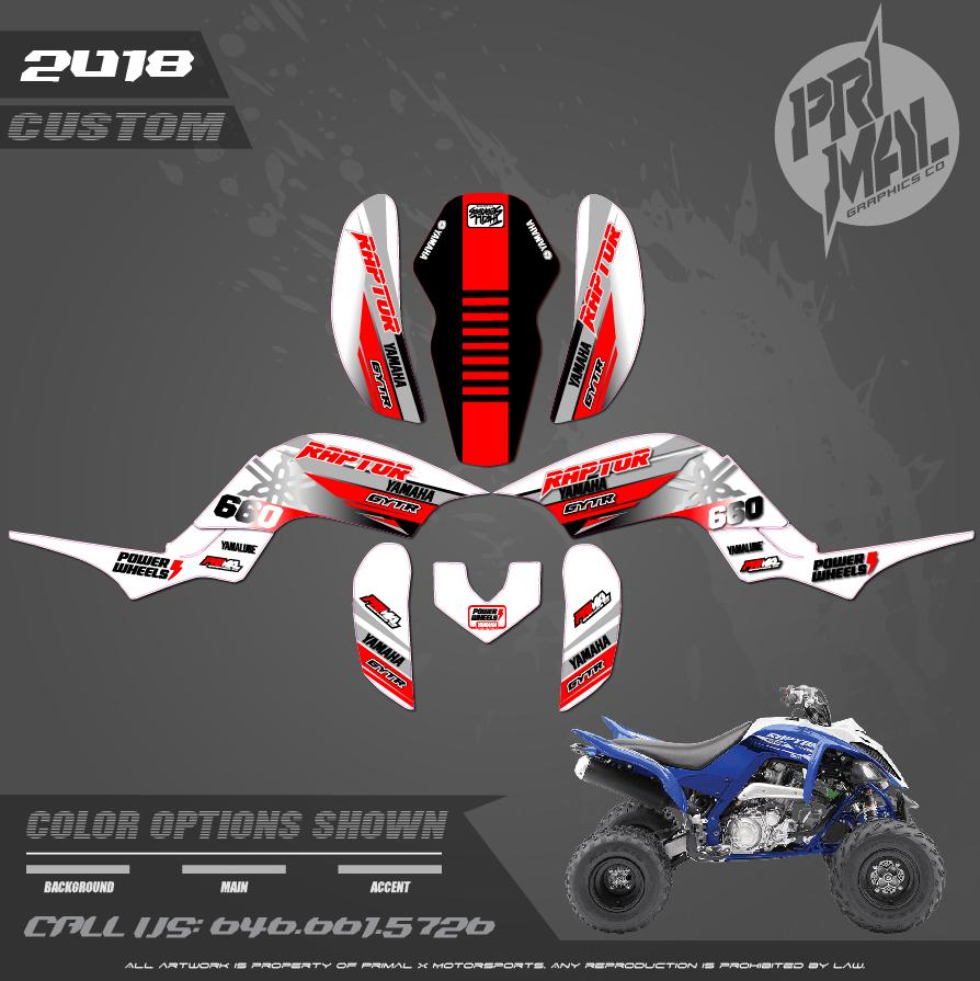 YAMAHA RAPTOR 660 PRIMAL X MOTORSPORTS CUSTOM MOTOCROSS GRAPHICS MX GRAPHICS ION SERIES