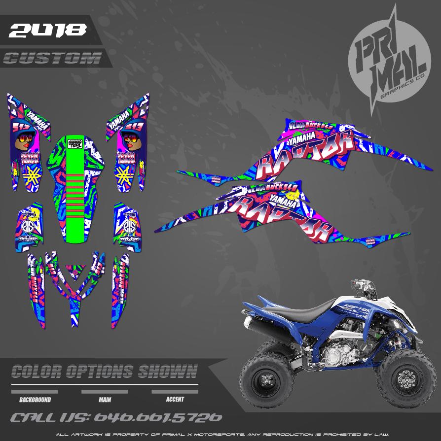 YAMAHA RAPTOR 700  CUSTOM MOTOCROSS GRAPHICS ATV MX GRAPHICS PRIMAL X MOTORSPORTS CUSTOM BIKELIFE