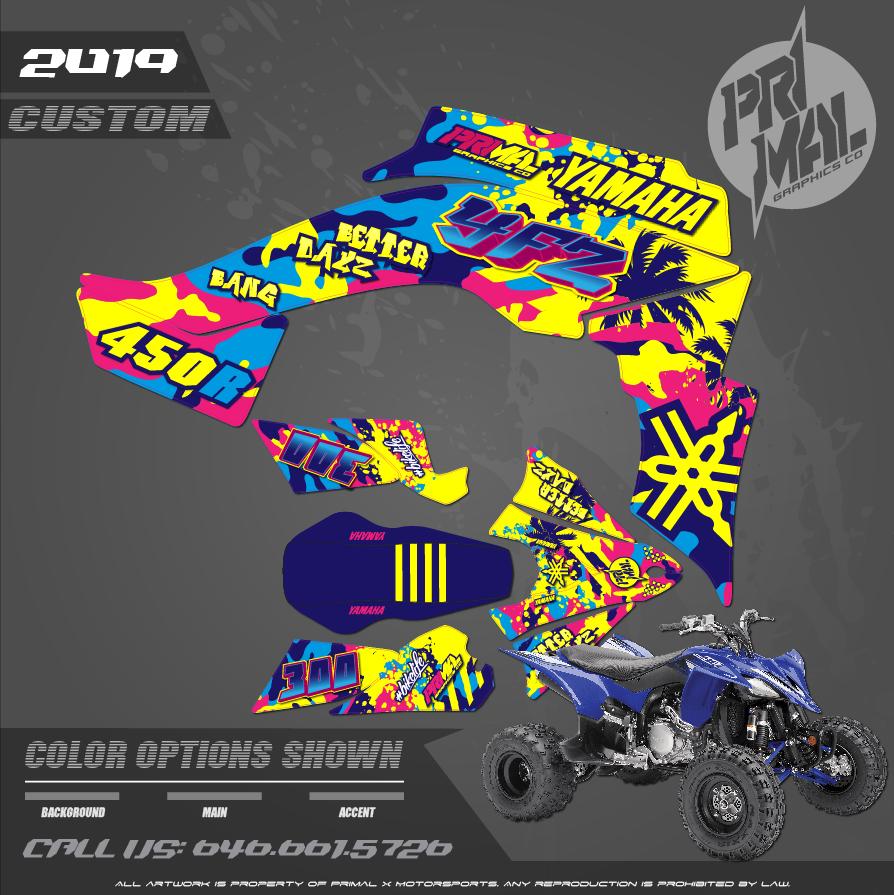 YAMAHA YFZ450 ATV CAMO SERIES MOTOCROSS GRAPHICS ATV MX GRAPHICS PRIMAL X MOTORSPORTS PRIMAL GFX CO BIKELIFE