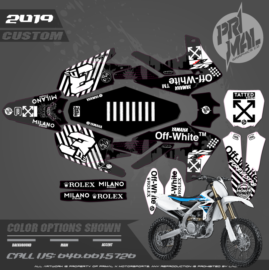 YAMAHA YZ250F YZ450F OFF WHITE  CUSTOM MOTOCROSS GRAPHICS ATV MX GRAPHICS PRIMAL X MOTORSPORTS PRIMAL GFX CO