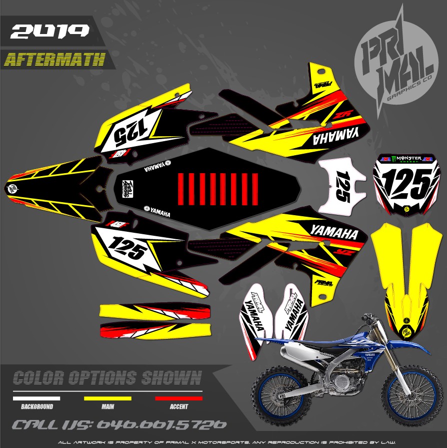 YAMAHA YZ450 YZ250  PRIMAL X MOTORSPORTS CUSTOM MOTOCROSS GRAPHICS MX GRAPHICS AFTERMATH
