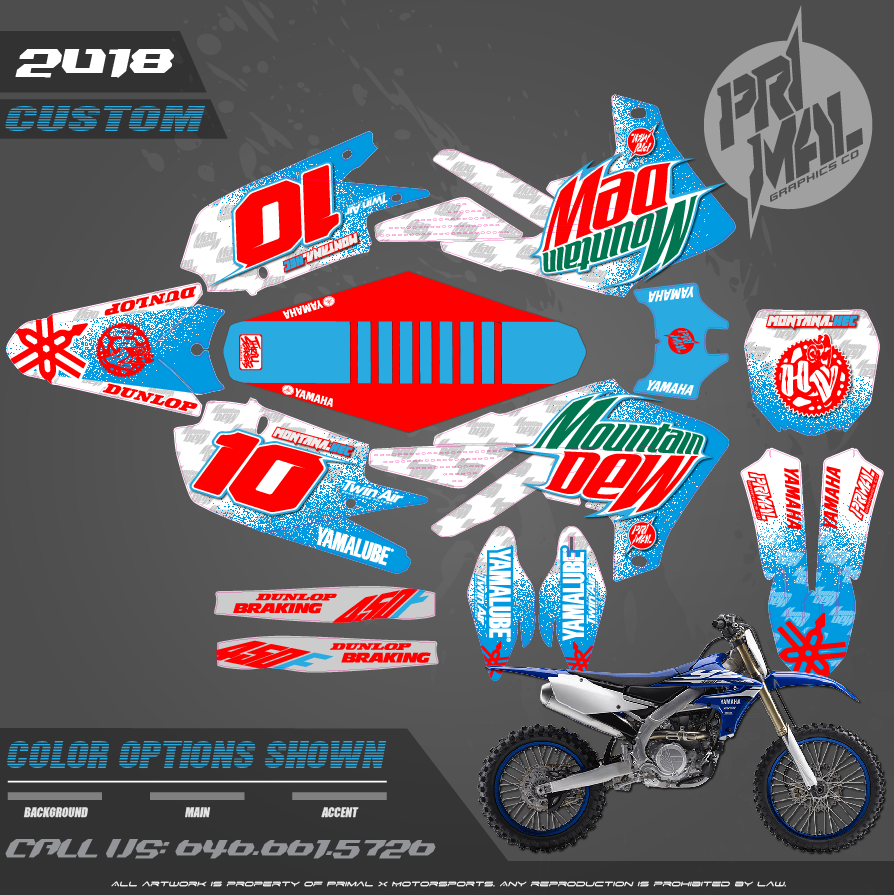 YAMAHA YZ450F YZ250F  CUSTOM MOTOCROSS GRAPHICS ATV MX GRAPHICS PRIMAL X MOTORSPORTS MOUNTAIN DEW BIKELIFE