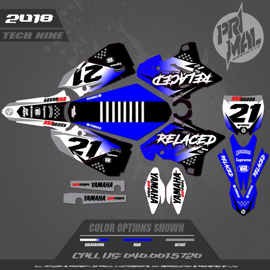 YZ 250 MX GRAPHICS MOTOCROSS GRAPHICS ATV MX GRAPHICS PRIMAL X MOTORSPORTS TECH NINE SERIES