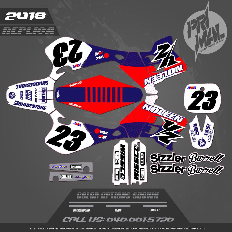 YZ250 REPLICA CUSTOM MOTOCROSS GRAPHICS ATV MX GRAPHICS PRIMAL X MOTORSPORTS
