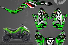 KAWASAKI KFX50 CUSTOM MOTOCROSS GRAPHICS ATV MX GRAPHICS PRIMAL X MOTORSPORTS WARBIRD
