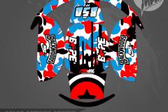 YAMAHA BANSHEE PRIMAL X MOTORSPORTS CUSTOM MOTOCROSS GRAPHICS MX GRAPHICS CMOORE HELMET