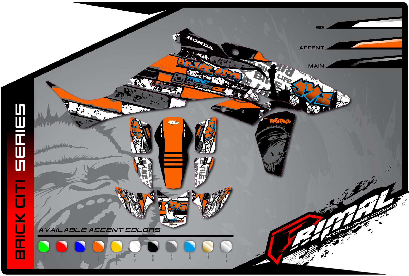 Primal X Motorsports MX Graphics ATV GRAPHICS TRX 450 Brick Citi