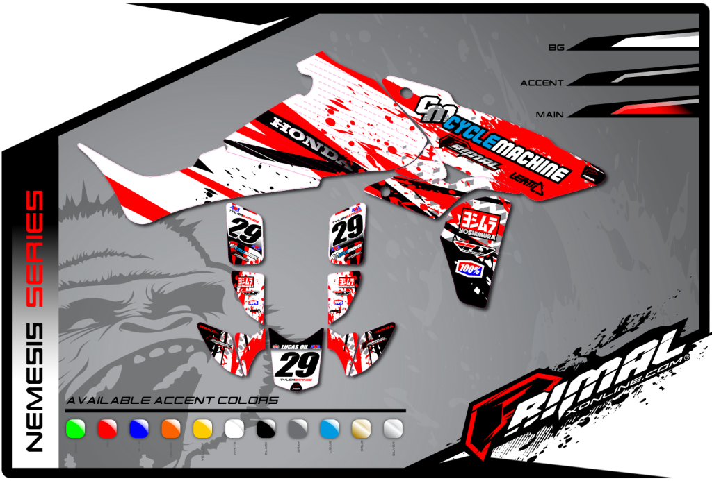 Primal X Motorsports MX Graphics ATV GRAPHICS TRX 450 NEMESIS