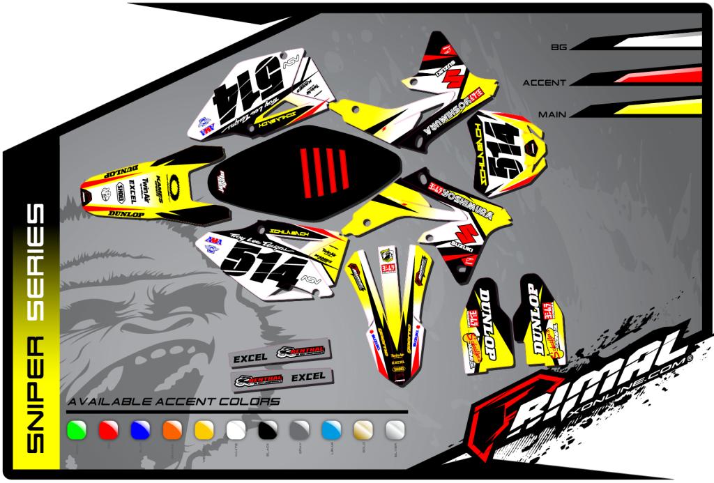 Suzuki Primal X Motorsports Motocross Graphics Atv