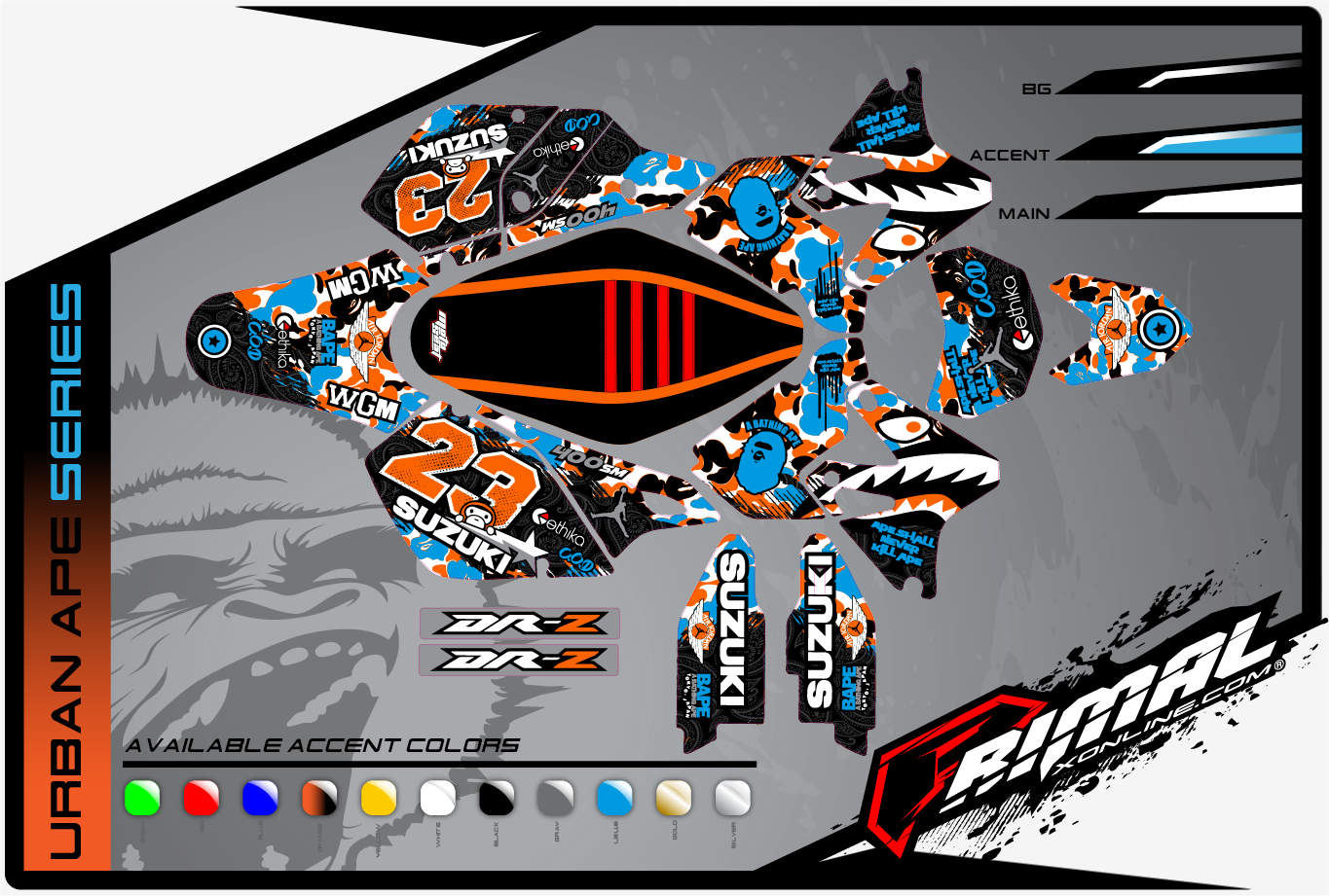 SUZUKI DRZ 400 GRAPHICS PRIMAL X SUPERMOTO GRAPHICS BIKELIFE GRAPHICS DRZ (URBAN APE SERIES)