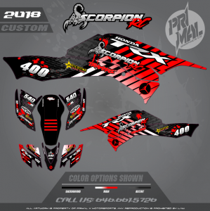 2015 HONDA 400EX  MOTOCROSS GRAPHICS ATV MX GRAPHICS PRIMAL X MOTORSPORTS SCORPION RCVA (1)