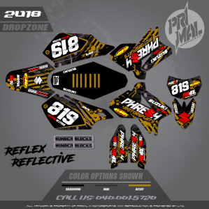 DRZ400SM CUSTOM MOTOCROSS GRAPHICS ATV MX GRAPHICS PRIMAL X MOTORSPORTS DROPZONE SERIES 2