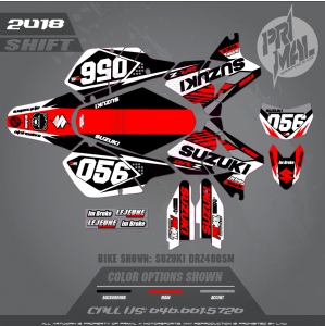DRZ400sm Graphics kit MOTOCROSS GRAPHICS ATV MX GRAPHICS PRIMAL X MOTORSPORTS SHIFT IMBROKE
