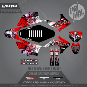 HONDA CRF230F CRF150F MOTOCROSS GRAPHICS ATV MX GRAPHICS PRIMAL X MOTORSPORTS HARLEY QUINN