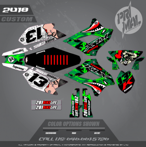 KLX250 CUSTOM MOTOCROSS GRAPHICS ATV MX GRAPHICS PRIMAL X MOTORSPORTS MILITARY