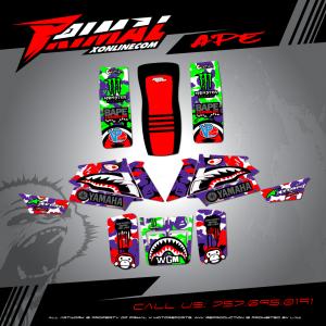 YAMAHA BANSHEE 350 MX GRAPHICS PRIMAL X MOTORSPORTS BIKELIFE MX DECALS MOTOCROSS ATV GRAPHICS APE
